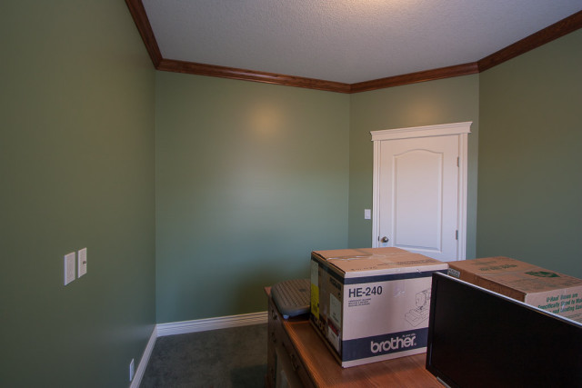 bedroom walls painted deep green with white trim