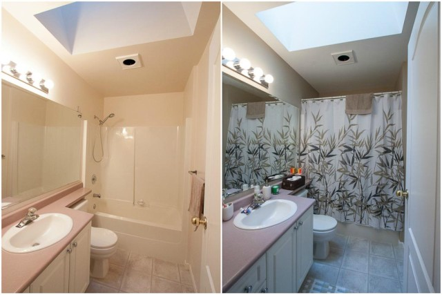 before and after of bathroom painting