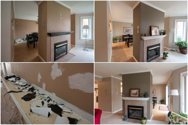 before and after painting of living room and fireplace