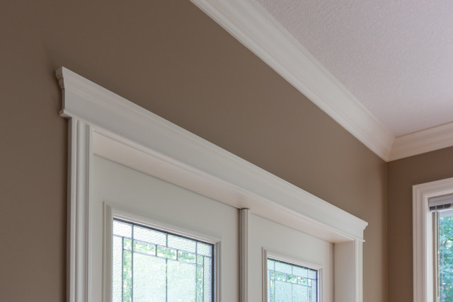 brown walls contrasted with soft cream painted trim work
