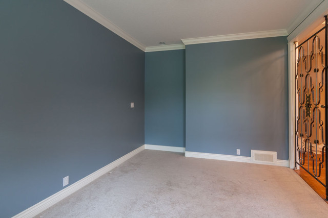 den walls painted blue with white trim