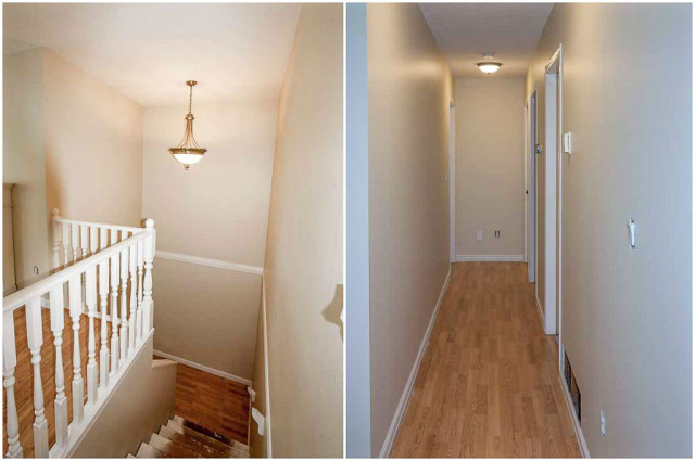 hallway and stairwell walls painted light beige with white trim