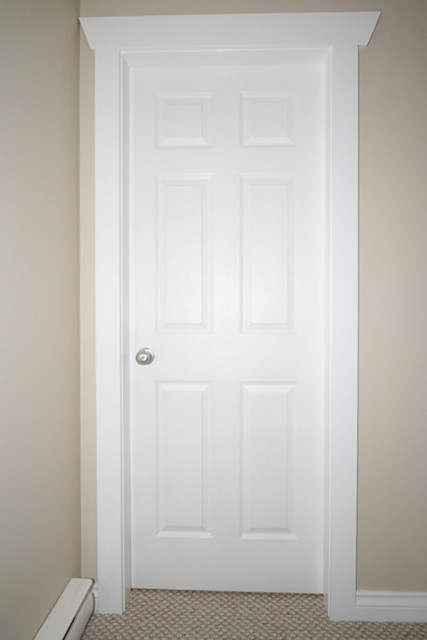 six panel door painted in white