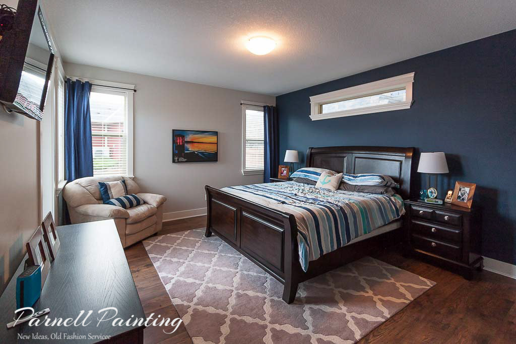 Master Bedroom Painted In Grey Owl And Midnight Blue