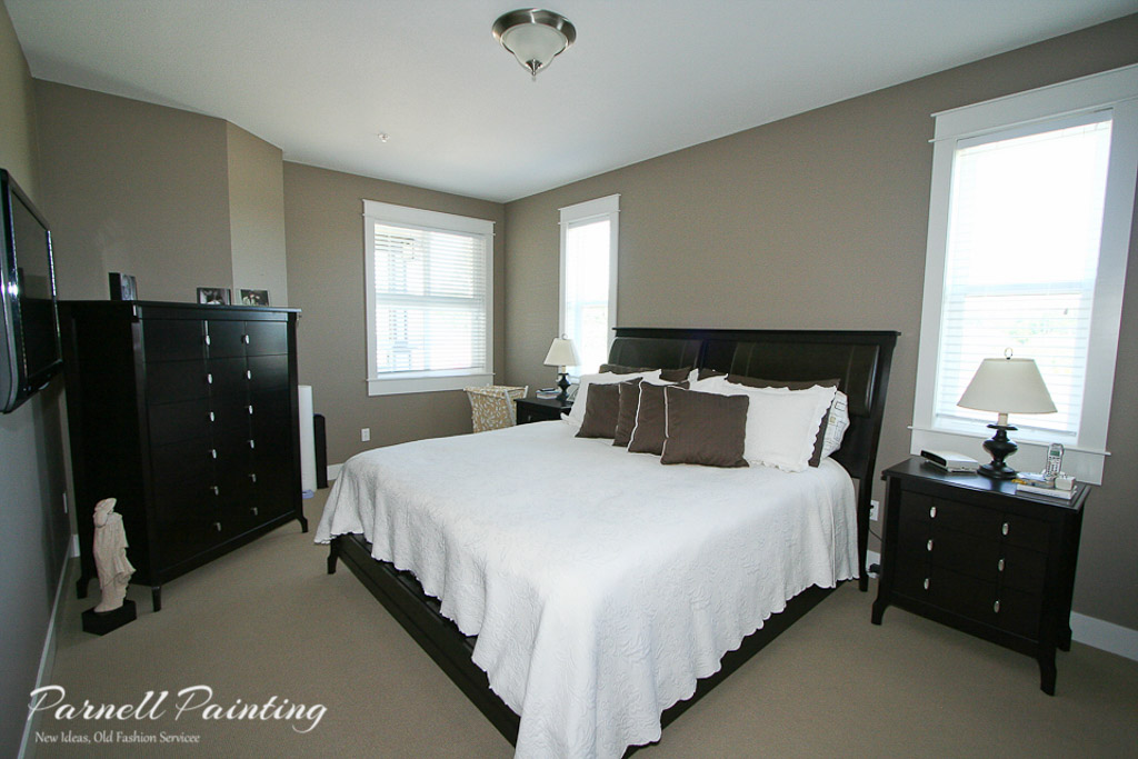 Master Bedroom Painted In Dark Taupe