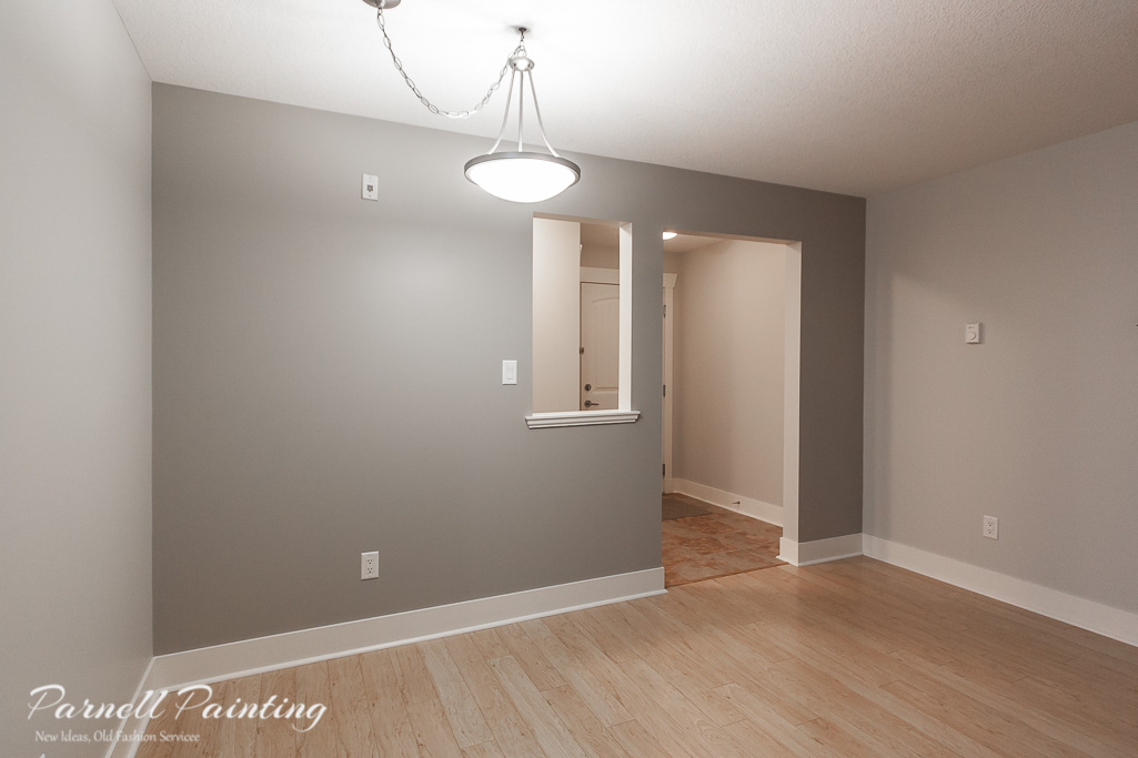 After Photo Of Painted Grey Dining Room Accent Wall
