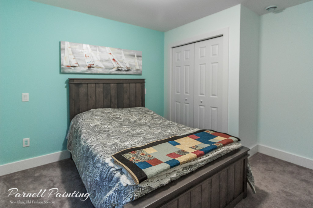 Light Blue Master Bedroom With Turquoise Accent Wall