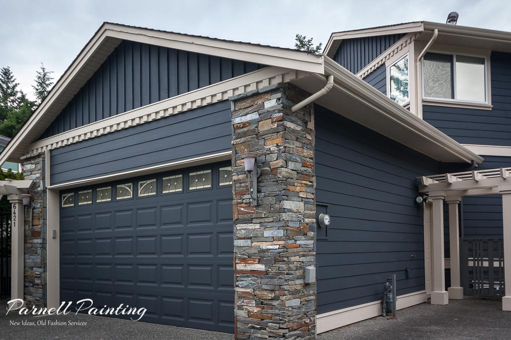 Exterior House Colour Combination Of Midnight Blue And Navejo White